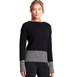 Athleta XL Wool Sweater Brindle Border Black Gray